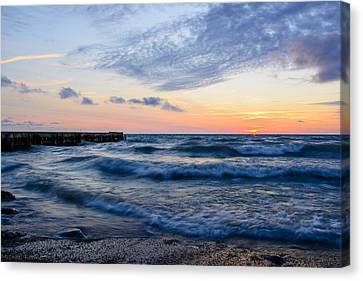 Canvas Print featuring the photograph Sunrise Lake Michigan August 8th 2013  by Michael  Bennett