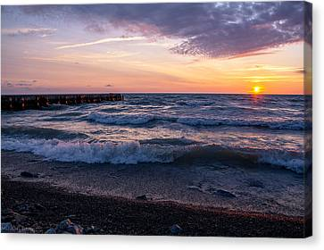 Canvas Print featuring the photograph Sunrise Lake Michigan August 8th 2013 Wave Crash by Michael  Bennett