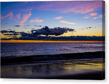 Canvas Print featuring the photograph Sunrise Lake Michigan September 14th 2013 002 by Michael  Bennett