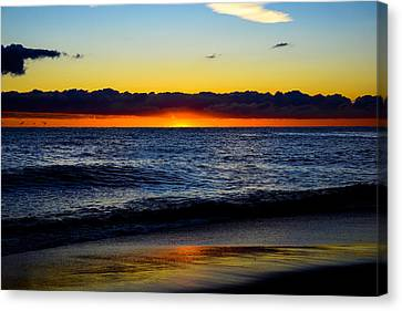 Canvas Print featuring the photograph Sunrise Lake Michigan September 14th 2013 008 by Michael  Bennett