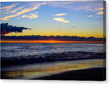Canvas Print featuring the photograph Sunrise Lake Michigan September 14th 2013 012 by Michael  Bennett