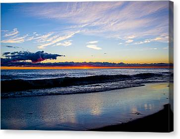 Canvas Print featuring the photograph Sunrise Lake Michigan September 14th 2013 013 by Michael  Bennett