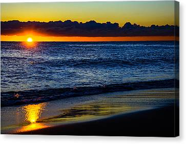 Canvas Print featuring the photograph Sunrise Lake Michigan September 14th 2013 015 by Michael  Bennett