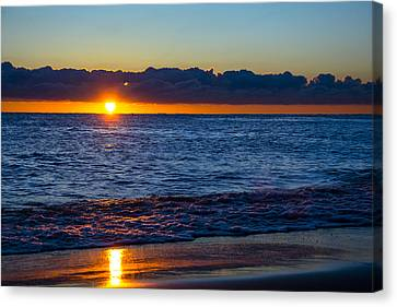 Canvas Print featuring the photograph Sunrise Lake Michigan September 14th 2013 016 by Michael  Bennett