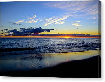 Canvas Print featuring the photograph Sunrise Lake Michigan September 14th 2013 017 by Michael  Bennett