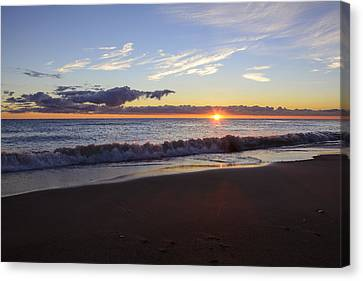 Canvas Print featuring the photograph Sunrise Lake Michigan September 14th 2013 018 by Michael  Bennett