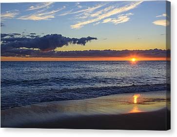 Canvas Print featuring the photograph Sunrise Lake Michigan September 14th 2013 019 by Michael  Bennett