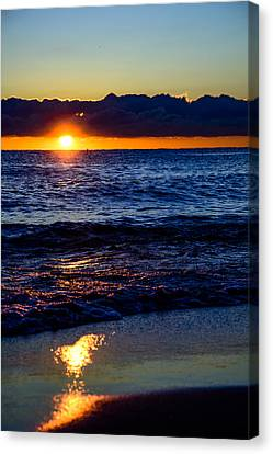 Canvas Print featuring the photograph Sunrise Lake Michigan September 14th 2013 021 by Michael  Bennett