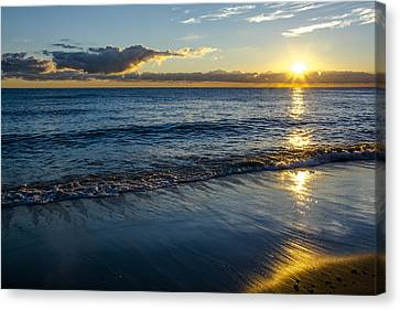 Canvas Print featuring the photograph Sunrise Lake Michigan September 14th 2013 023 by Michael  Bennett