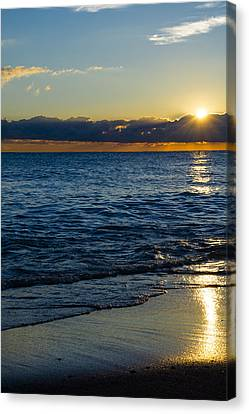 Canvas Print featuring the photograph Sunrise Lake Michigan September 14th 2013 024 by Michael  Bennett
