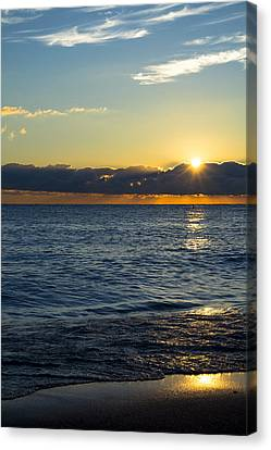 Canvas Print featuring the photograph Sunrise Lake Michigan September 14th 2013 025 by Michael  Bennett
