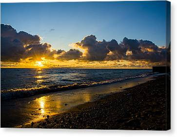 Canvas Print featuring the photograph Sunrise Lake Michigan September 2nd 2013 004 by Michael  Bennett