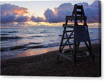 Canvas Print featuring the photograph Sunrise Lake Michigan September 2nd 2013 005 by Michael  Bennett