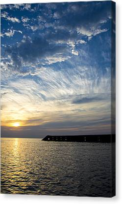 Canvas Print featuring the photograph Sunrise Lake Michigan September 7th 2013  by Michael  Bennett