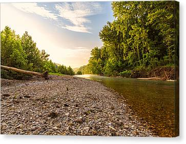Sunrise Light On Buffalo River Canvas Print by Bill Tiepelman