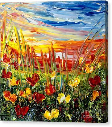 Canvas Print featuring the painting Sunrise Meadow   by Teresa Wegrzyn