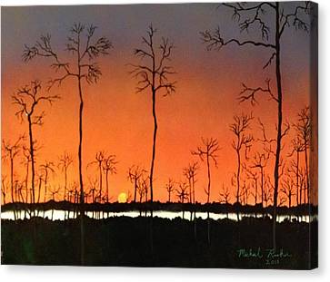 Canvas Print featuring the painting Sunrise by Michael Rucker