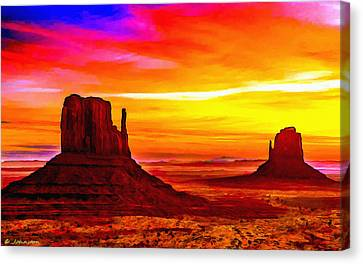 Sunrise Monument Valley Mittens Canvas Print