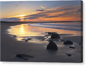 Sunrise On A Beach Near The Port Canvas Print by Irwin Barrett