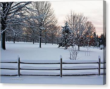 Canvas Print featuring the photograph Sunrise On A Snowy Morning by Ann Murphy