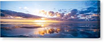 Sunrise On Beach, North Sea, Germany Canvas Print