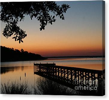 Sunrise On Bogue Sound Canvas Print by Cari Gesch