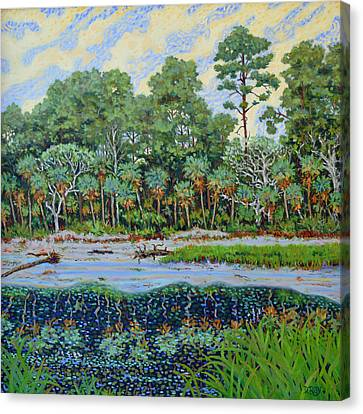 Canvas Print featuring the painting Sunrise On Hunting Island Lagoon by Dwain Ray