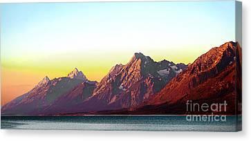 Sunrise On Jackson Lake Canvas Print by Robert Bales