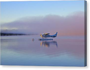 Sunrise On Lake Te Anu Canvas Print by Venetia Featherstone-Witty
