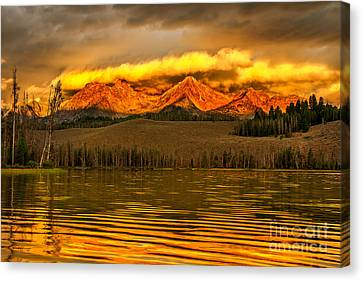Haybale Canvas Print - Sunrise On Little Redfish Lake by Robert Bales
