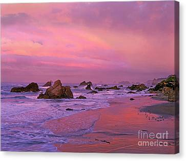 Canvas Print featuring the photograph Sunrise On Sea Stacks Harris Sb Oregon by Dave Welling