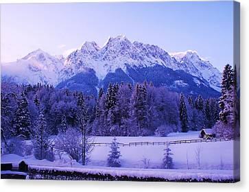 Sunrise On Snowy Mountain Canvas Print