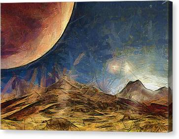 Sunrise On Space Canvas Print by Ayse Deniz