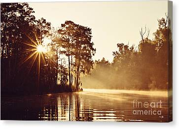 Sunrise On The Bayou Canvas Print by Scott Pellegrin
