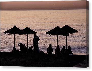 Sunrise On The Beach After A Night Out Canvas Print by Goyo Ambrosio