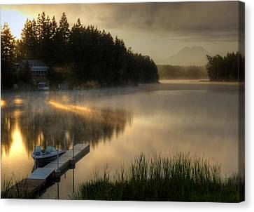 Sunrise On The Lake Canvas Print by Peter Mooyman