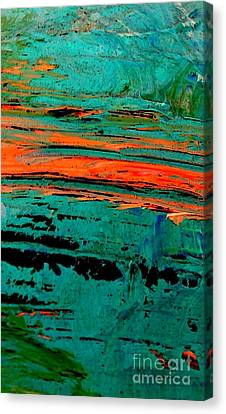 Canvas Print featuring the painting Sunrise On The Water by Jacqueline McReynolds