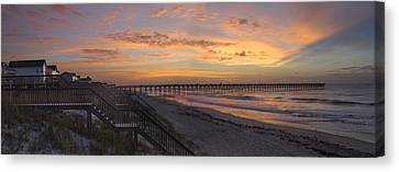 Sunrise On Topsail Island Panoramic Canvas Print by Mike McGlothlen
