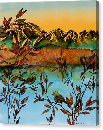 Sunrise On Willows Canvas Print by Carolyn Doe