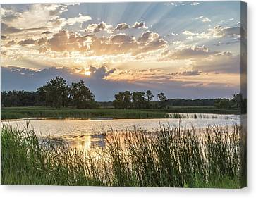 Sunrise Over Backwater Of The Milk Canvas Print by Chuck Haney