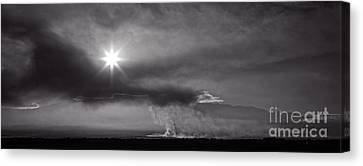 Sunrise Over Burning Sugar Cane Fields Maui Hawaii Canvas Print by Edward Fielding