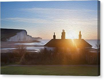 Sunrise Over Coastguard Cottages At Seaford Head With Seven Sisters Digital Painting Canvas Print by Matthew Gibson