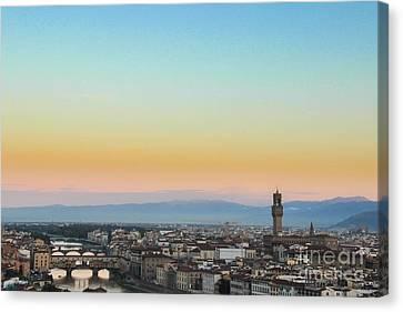 Sunrise Over Florence Canvas Print by David Warrington