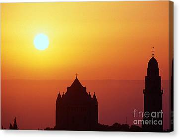 Sunrise Over Jerusalem Canvas Print by Thomas R Fletcher