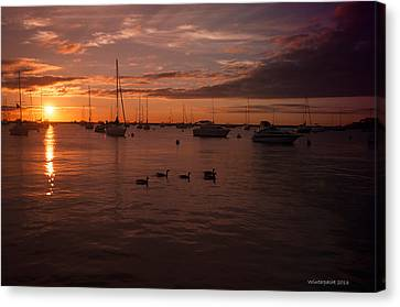 Sunrise Over Lake Michigan Canvas Print by Miguel Winterpacht