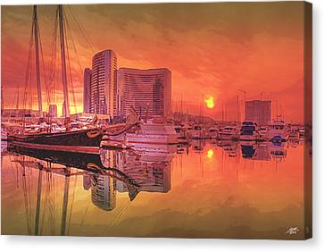 Sunrise Over San Diego Canvas Print by Steve Huang