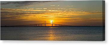 Sunrise Over Sunshine Skyway Bridge Canvas Print by Panoramic Images