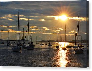 Sunrise Over The Boston Harbor Canvas Print by Toby McGuire