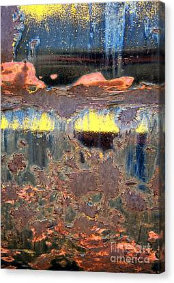 Sunrise Over The Lake Abstract Canvas Print by Lee Craig