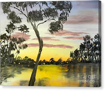 Sunrise Over The Murray River At Lowson South Australia Canvas Print